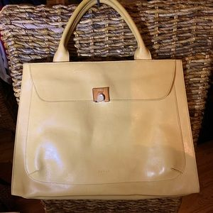 Gorgeous Vintage Furla Satchel in a Soft Gold Yellow Leather